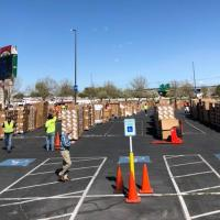 Volunteers in the parking lot of the Utah Food Bank