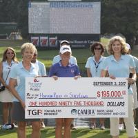 Group holding charity check